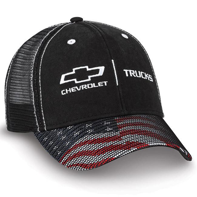 b8ea0e91a2b Chevy Trucks American Flag Black Twill   Mesh Hat