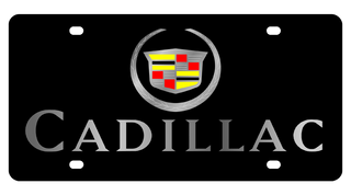 Cadillac Crest w/ Mirror Letters Black Acrylic Plate