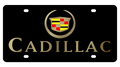 Cadillac Crest w/ Gold Letters Black Acrylic Plate