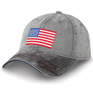Chevrolet American Flag Washed Gray Hat