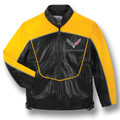 C7 Corvette Racing Black/Yellow Lambskin Bomber Jacket (front)