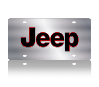 Jeep Red Outline Stainless Steel License Plate