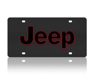 Jeep Red Outline Black Stainless Steel License Plate