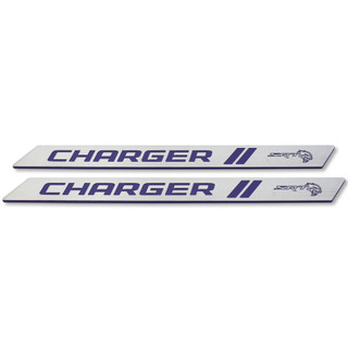 Dodge Charger Color Match Billet Front Door Sills (Plum Crazy Purple w/SRT Hellcat logo sample)