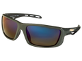 Gunmetal TCG Chevy Gold Bowtie Sunglasses - Gray/Green with Gradient Blue Mirror Tint