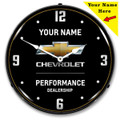 Custom Chevrolet Performance Black LED Backlit Clock