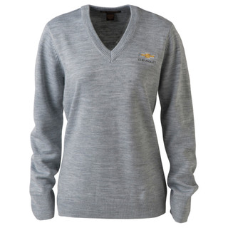 Women's Chevrolet Bowtie V-Neck Gray Sweater
