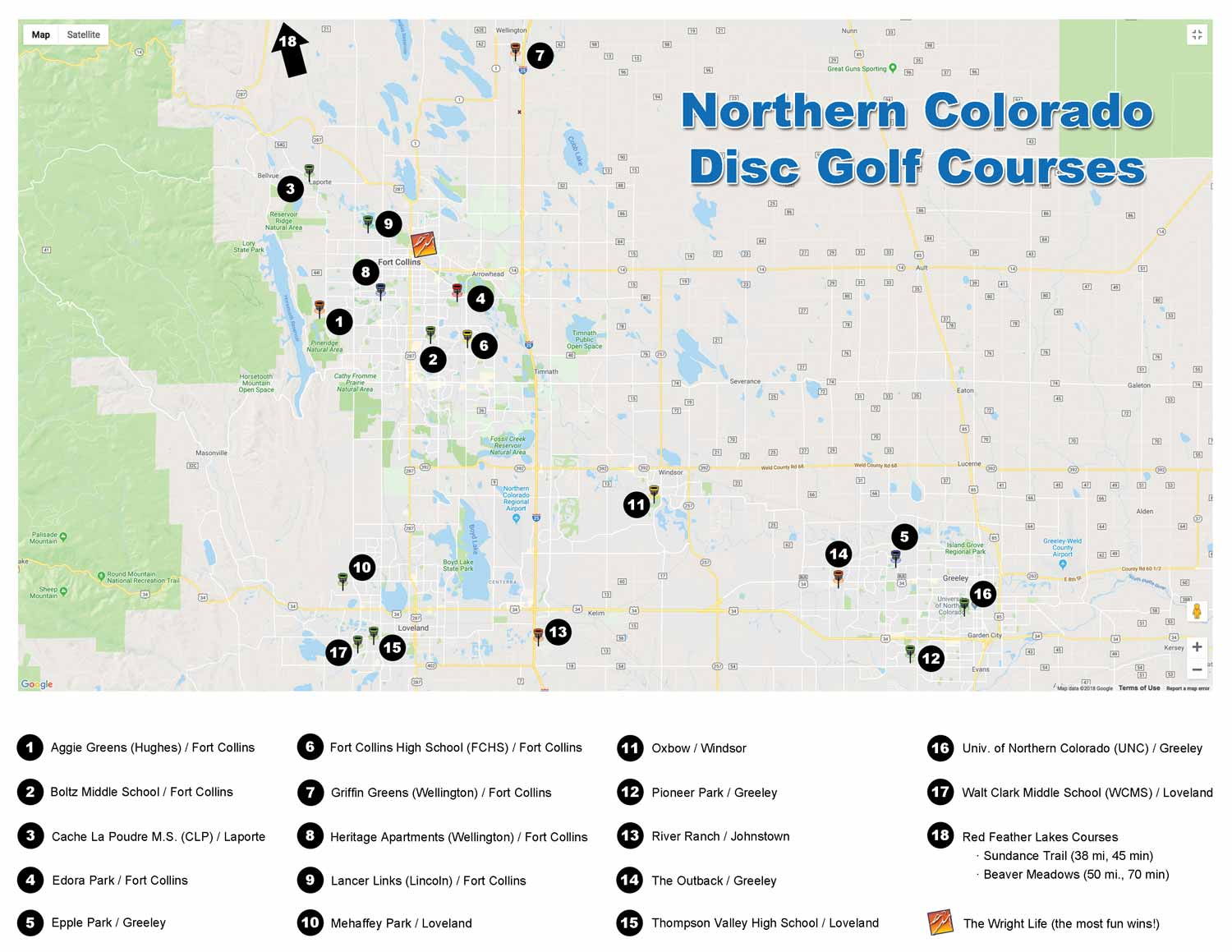 Map of Northern Colorado courses