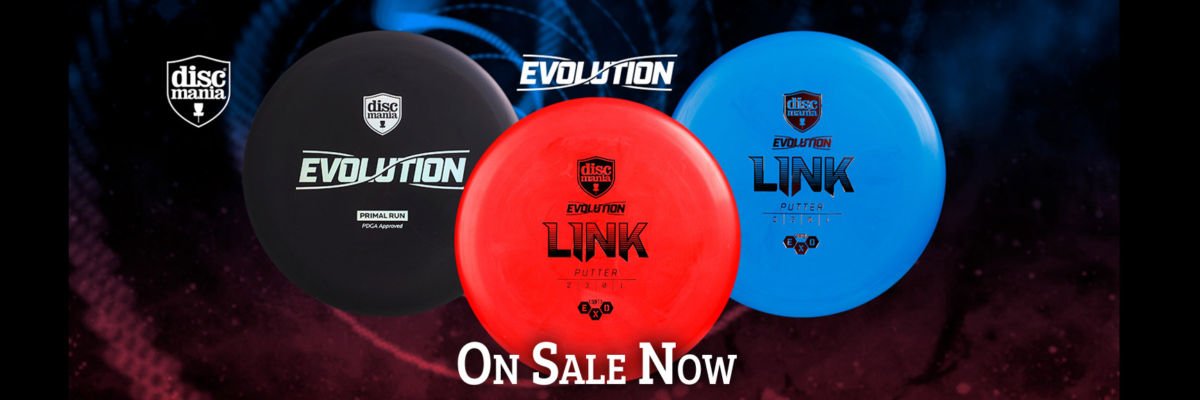 Shows three Discmania Evolution Link putter golf discs. A black Primal Run, a red Hard and a blue Soft. Faint swirls of red and blue appear in the black background. The text,