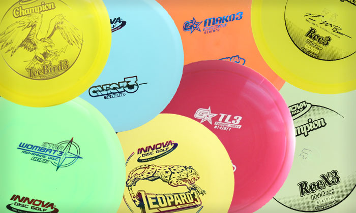 collage of various innova 3 Series golf discs