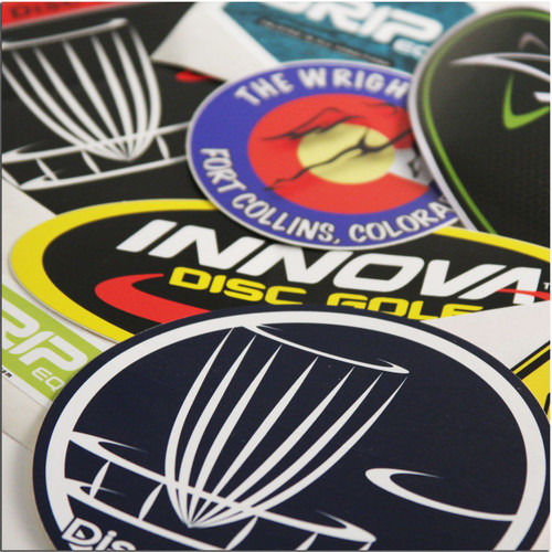 DISC GOLF STICKER MYSTERY PACK - ASSORTED MIX OF 5