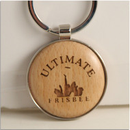 WOOD ULTIMATE FRISBEE MINI KEY CHAIN TROPHY OR PRIZE