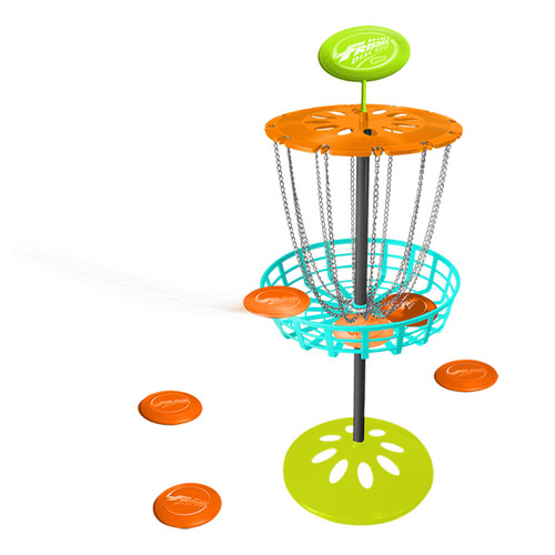 WHAM-O MINI FRISBEE GOLF BASKET SET - INCLUDES SIX MINI GOLF DISCS