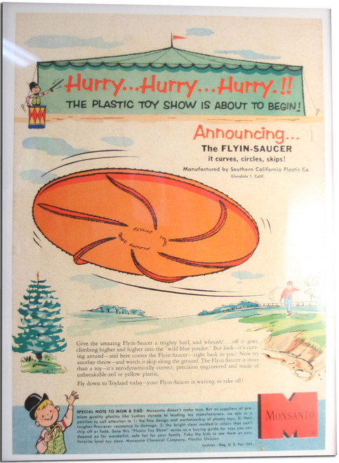 EARLY FLYIN-SAUCER POSTER PROMOTIONAL PRINT - CLASSIC ART FRISBEE DISC