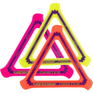 Aerobie ORBITER SOFT BOOMERANG 3 Pack. Top view of three different colors of boomerangs spread out and overlapping. There is a yellow, a pink and a red one.