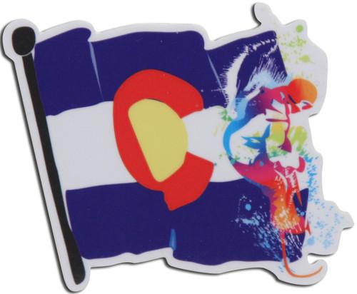 COLORADO SNOWBOARDER FLAG STICKER
