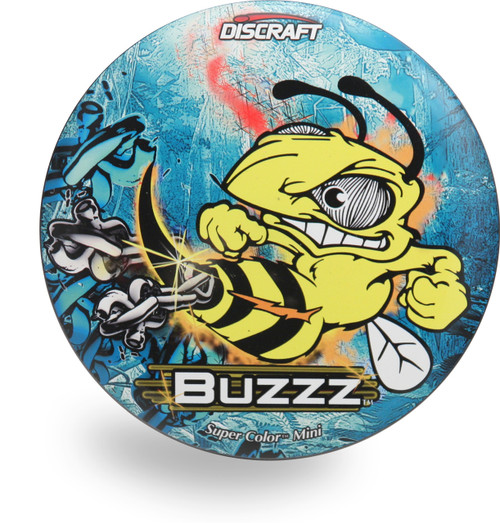 Discraft BIG Z SUPERCOLOR BUZZZ Mini Marker - shows top view of disc depicting Buzzz bee smashing chains with its stinger. The background is mostly blue.
