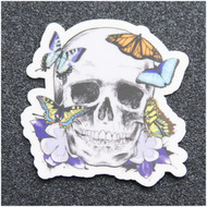 LOST EYES DESIGN SKULL AND BUTTERFLIES STICKER