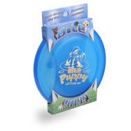 Latitude 64° BITE PUPPY FLYING DISC - High Durability & Wind Resistant Canine Dog Frisbee - blue front view in packaging
