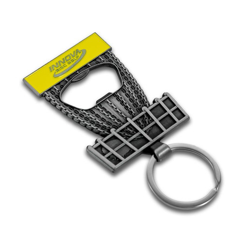 Innova BOTTLE OPENER KEYCHAIN - Discatcher Basket Design - front view of item laying on white background. This one is silver metal with a yellow band.