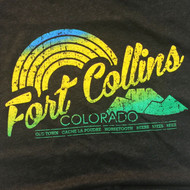 FORT COLLINS COLORADO T-SHIRT - TEXTURED HORSETOOTH SUNSET DESIGN