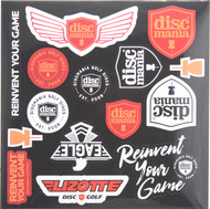 DISCMANIA STICKER SHEET - ASSORTED DISC GOLF STICKERS
