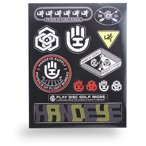HANDEYE SUPPLY STICKER SHEET - ASSORTED DISC GOLF STICKERS