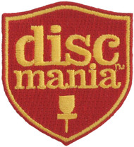 DISCMANIA DISC GOLF PATCH - SHIELD LOGO DESIGN ORANGE/YELLOW
