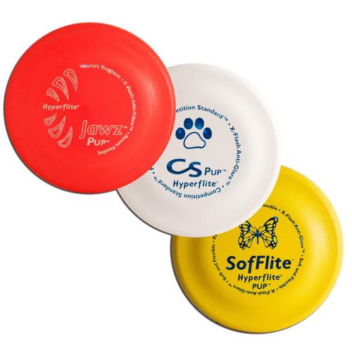 Hyperflite Puppy Disc Variety Sampler 3 Pack - Best Flying Frisbees Asst Colors