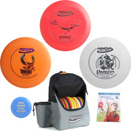 Innova Complete Disc Golf Gift Set - Discover Bag, Floating Driver, Mid-Range, Putter + Mini and Rules