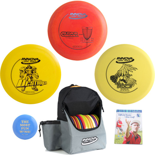 Innova Complete Advanced Disc Golf Gift Set - Discover Bag, Driver, Mid-Range, Putter + Mini and Rules