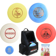 Discraft Complete Advanced Disc Golf Gift Set - Backpack, 4 Discs + Mini & Rules - Black Bag