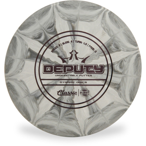Dynamic Discs CLASSIC SOFT BURST DEPUTY Disc Golf Putter - front view gray