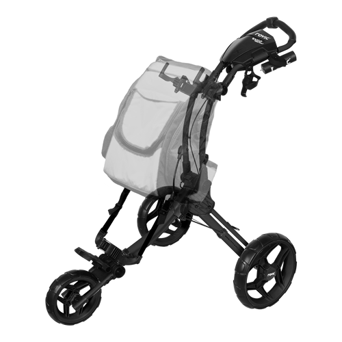ROVIC RV1D Disc Golf Cart from ProActive Sports - shows cart in expanded, usable configuration with diagram of a backpack disc golf bag hung on the frame.