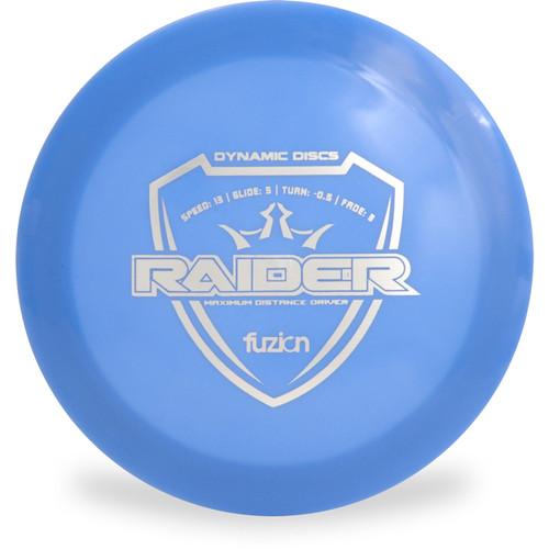 Dynamic Discs Fuzion Raider Distance Driver Blue Front View