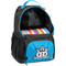 Dynamic Discs CADET BACKPACK Bag for Disc Golf - blue and black bag with disc compartment open, angled front view showing right side of bag