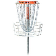 DGA MACH VII (MACH 7) Disc Golf Basket - front view of silver metal disc golf basket. Does not show base of basket, just most of the pole.