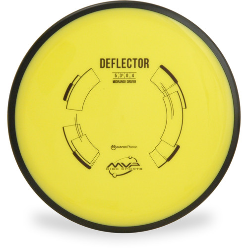 MVP NEUTRON DEFLECTOR Mid-Range Golf Disc Top View Yellow
