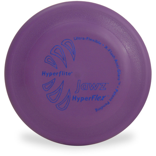 Shows top view of a purple Hyperflite HYPERFLEX JAWZ - Tough & Flexible Dog Disc Puncture Resistant dog frisbee.