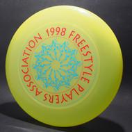 1998 FPA Tour Disc Bright Yellow w/ Metallic Blue and Metallic Red Text