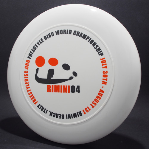 Sky-Styler 2004 Freestyle Disc World Championships Rimini White w/ Black and Orange Matte Top View