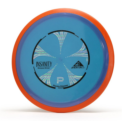 Axiom Plasma Insanity. Shows top view of blue disc with orange rim.