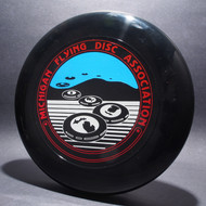 Sky-Styler Michigan Flying Disc Association Black w/ Metallic Red, Blue Matte Sky, White Matte Ground - TR Top View Black Background
