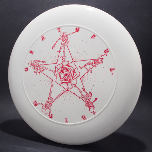 Sky-Styler Grateful Disc, Skeletons and Rose White w/ Red Matte - TR Top view Black Background
