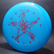 Sky-Styler Grateful Disc, Skeletons and Rose Blue w/ Red Matte - TR Top View Black Background