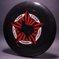 Sky-Styler Lone Star Austin Texas Frisbee Black w/ Metallic Red and White Matte Top View Black Background
