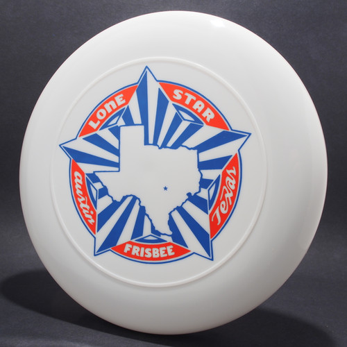 Sky-Styler Lone Star Austin Texas Frisbee White w/ Metallic Red and Blue Matte - T80 Top View Black Background