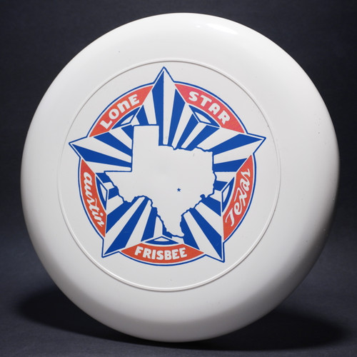 Sky-Styler Lone Star Austin Texas Frisbee White w/ Metallic Red and Blue Matte - TR Top View