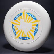 Sky-Styler Lone Star Austin Texas Frisbee White w/ Metallic Blue and Yellow Matte - TR Top View