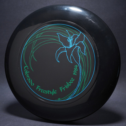 Sky-Styler Colorado Freestyle Frisbee 1984 Black w/ Green and Light Blue Matte Top View